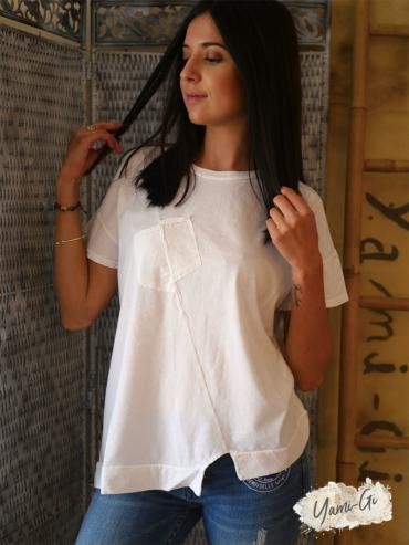 t-shirt Maestro blanc coton viscose yami-gi
